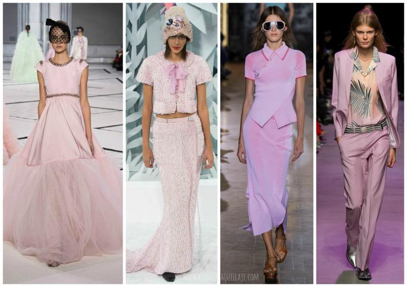 Las pasarelas de primavera 2016 han mostrado también el rosa cuarzo. De izquierda a derecha modelos de Giambattista Valli, Chanel, Stella McCartney y Paul&Joe