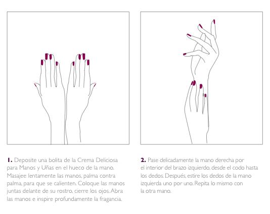 Masaje de manos para aplicar las cremas Caudalie. Primeros pasos.