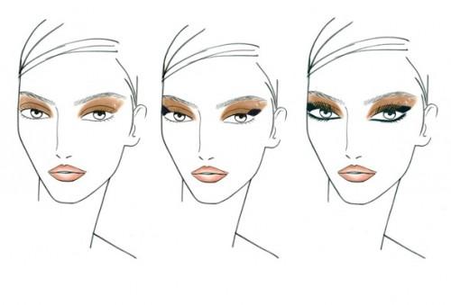 Face charts del maquillaje que Tom Pecheux ideó para la pasarela de Derek Lam