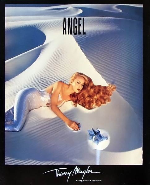 Jerry Hall en el cartel de Angel de Thierry Mugler